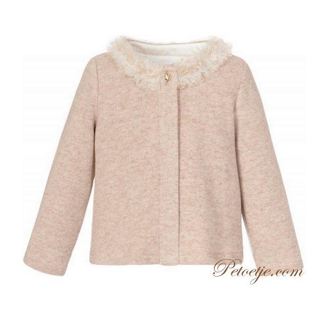 BALLOON CHIC Girls Beige Knitted Cardigan