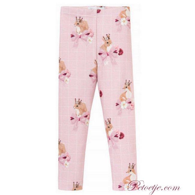 BALLOON CHIC Pink Check Fox Leggings