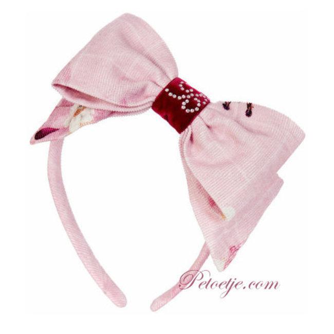 BALLOON CHIC Girls Pink Hairband Bow - Fox