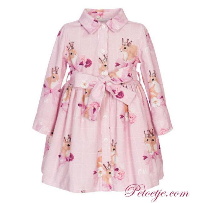 BALLOON CHIC Girls Pink Shirt Dress - Fox
