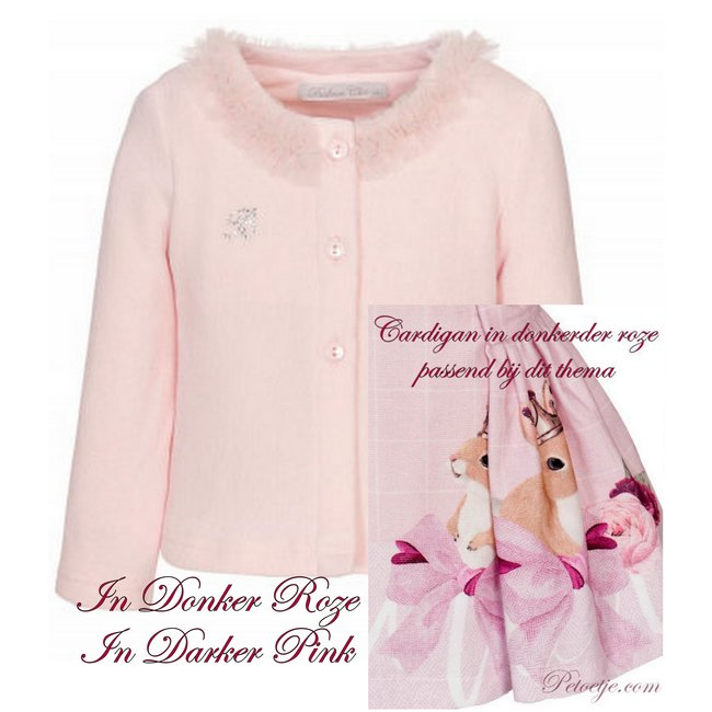 BALLOON CHIC Girls Pink Knitted Cardigan Tulle