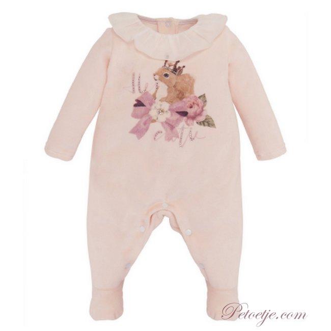 BALLOON CHIC Girls Pink Velours Babysuit - Squirrel