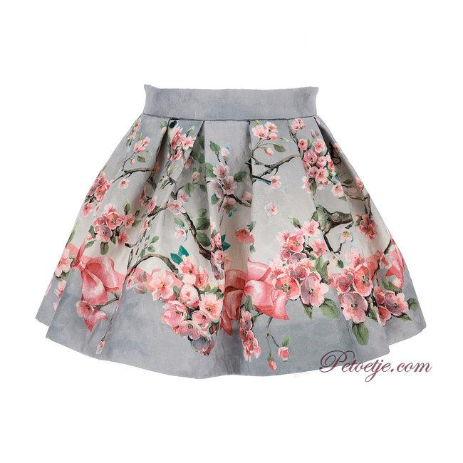 MONNALISA Girls Grey Floral Skirt
