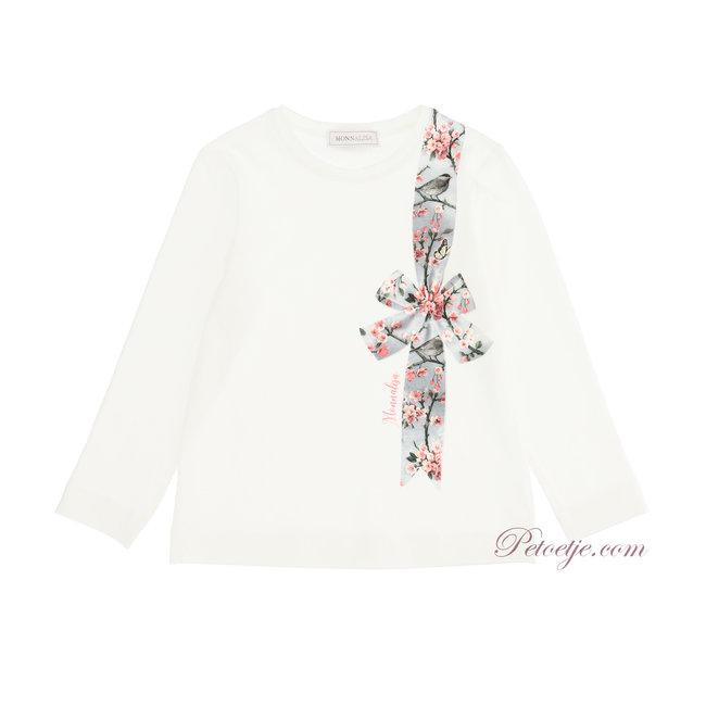 MONNALISA Girls Ivory Floral Jersey Top