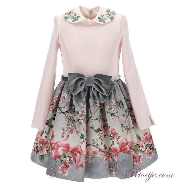 MONNALISA Girls Pink & Grey Floral Dress