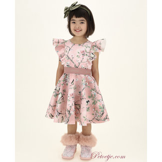 MONNALISA Girls Pink Neoprene Floral Dress