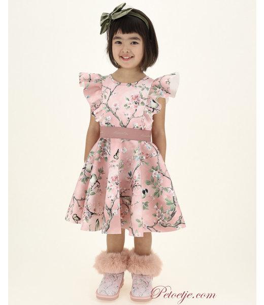 Girls Pink Neoprene Floral Dress