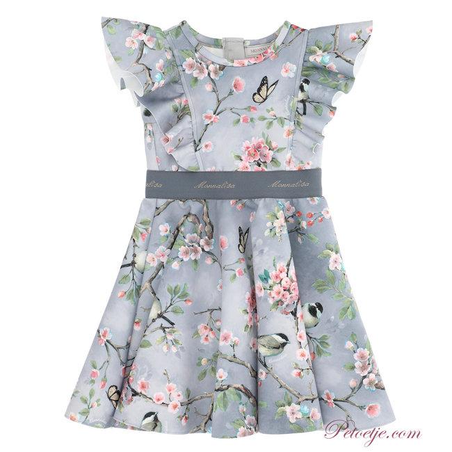 MONNALISA Girls Grey Neoprene Floral Dress