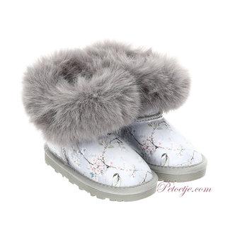 MONNALISA Girls Grey Floral Boots
