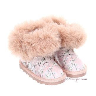 MONNALISA Girls Pink Floral Boots