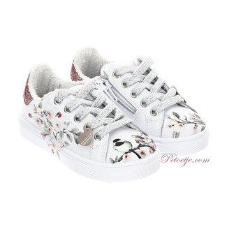MONNALISA Girls White Floral Sneakers