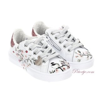 MONNALISA Girls White Floral Trainers