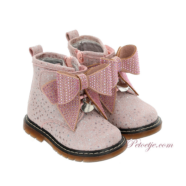 MONNALISA Girls Pink Ankle Boots Bow