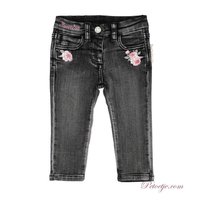 MONNALISA Girls Black Denim Trousers