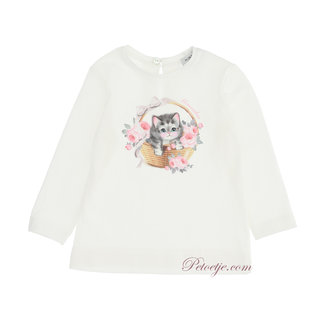 MONNALISA Baby Meisjes Ecru Top - Kitten