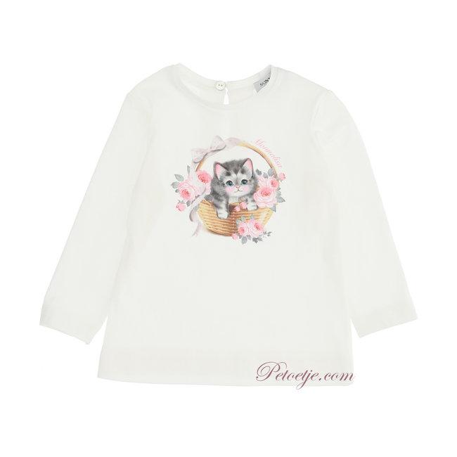 MONNALISA Baby Girls Ivory Top - Kitten