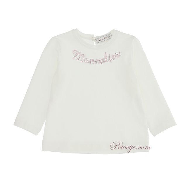 MONNALISA Baby Girls Ivory Logo Top