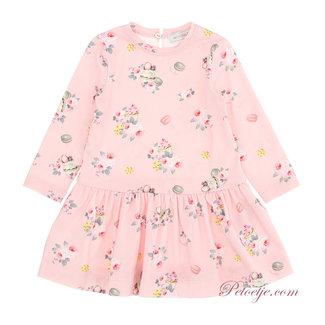 MONNALISA Pink Floral & Macaron Jersey Dress