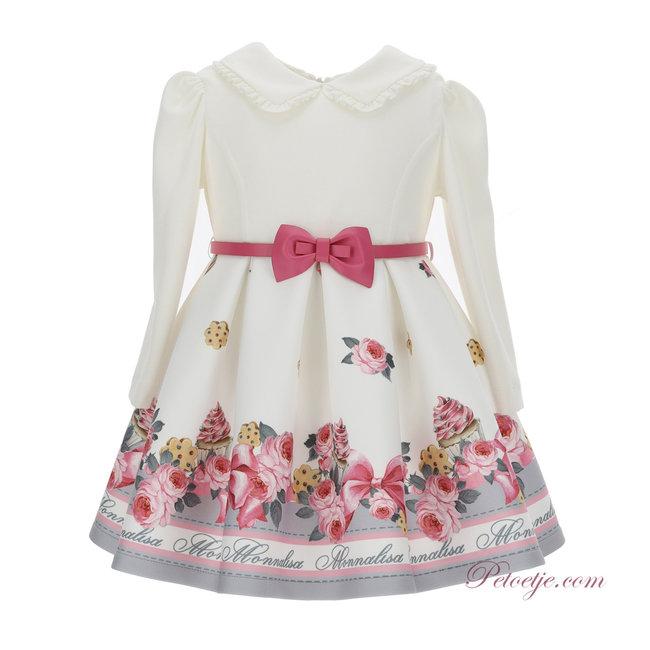 MONNALISA Ivory & Pink Neoprene Dress