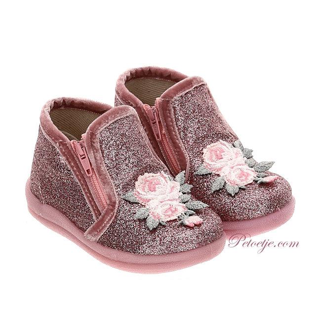 MONNALISA Baby Girls Pink Glitter Boots - Roses