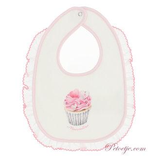 MONNALISA Baby Ecru & Roze Slabbetje - Cupcake
