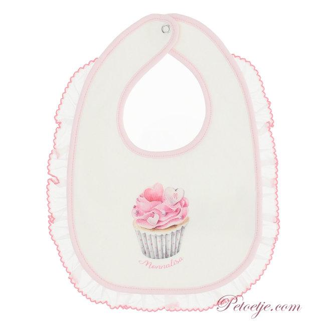 MONNALISA Baby Girls Ivory & Pink Cupcake Bib