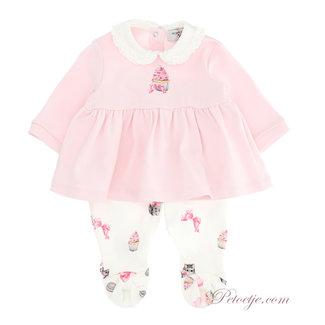MONNALISA Pink & Ivory Babysuit - Cupcake