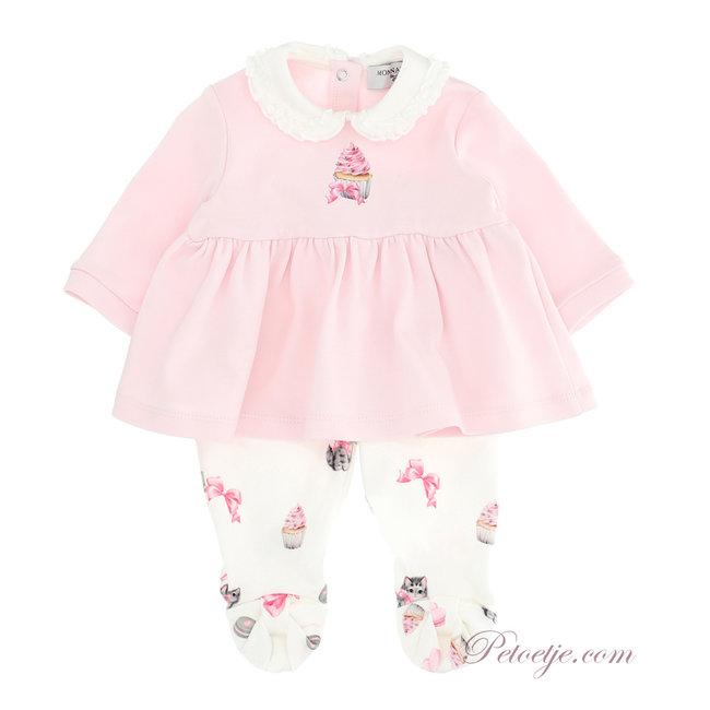MONNALISA Girls Pink & Ivory Babysuit - Cupcake Kitten