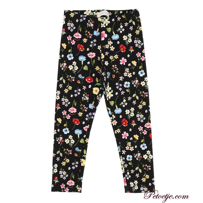 MONNALISA Girls Black Floral Leggings
