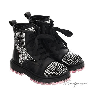 MONNALISA Girls Black Strass Boots