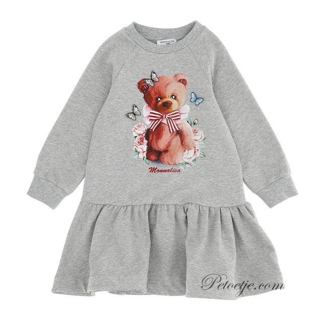 MONNALISA Girls Grey Jersey Bear Dress
