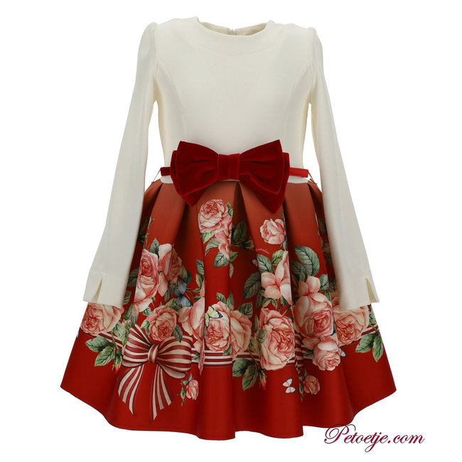 MONNALISA Girls Ivory & Red Floral Dress