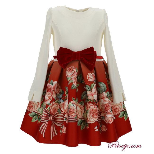 MONNALISA Meisjes Ecru & Rode Bloemen Jurk