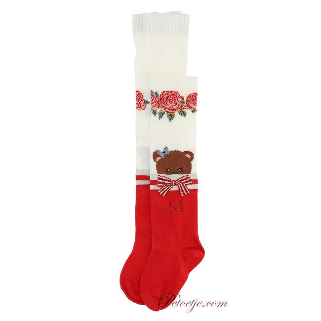 MONNALISA Girls Ivory & Red Tights  - Bear