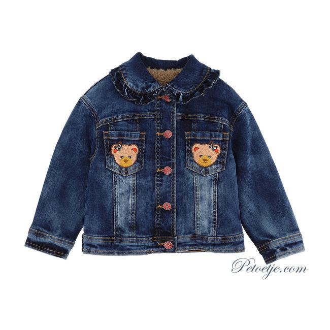 MONNALISA Girls Blue Padded Denim Jacket
