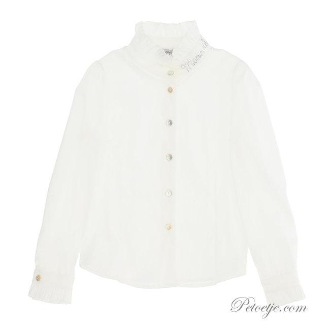 MONNALISA Girls Ivory Poplin Shirt