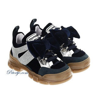 MONNALISA Girls Navy Blue Shoes - Bow