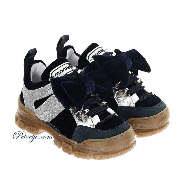 MONNALISA Girls Navy Blue Sneakers - Bow
