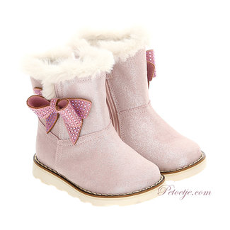 MONNALISA Pink Bow Fur Leather Boots