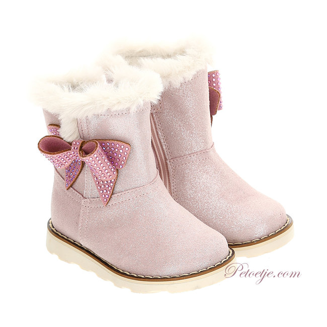 MONNALISA Girls Pink Bow Fur Leather Boots