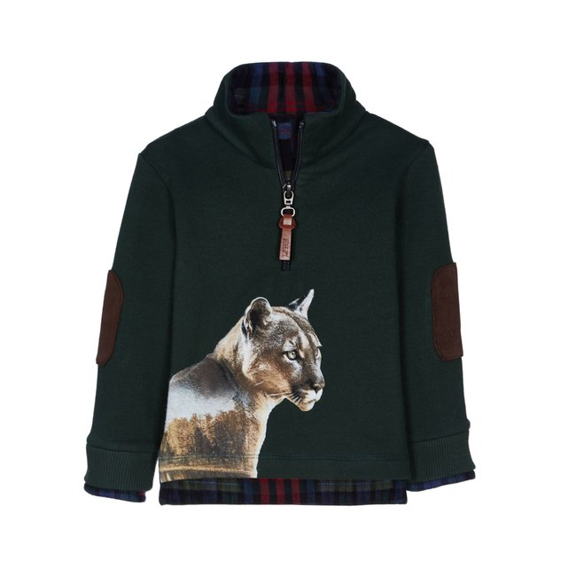 LAPIN HOUSE Boys Green Cougar Sweater