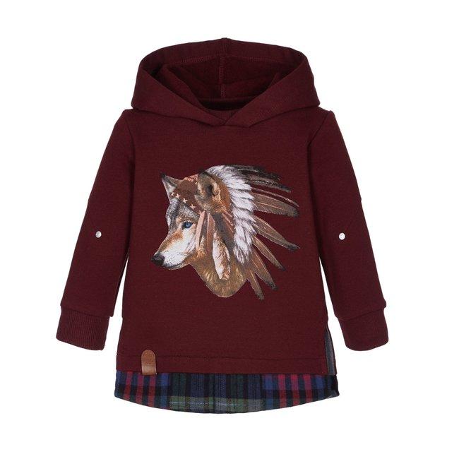 LAPIN HOUSE Boys Burgundy Hooded Sweater