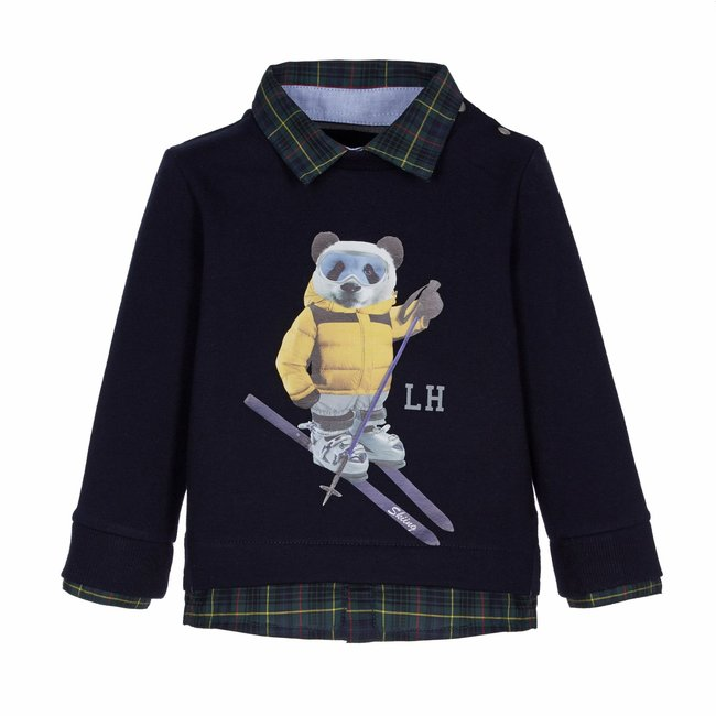 LAPIN HOUSE Boys Blue Sweater - Bear