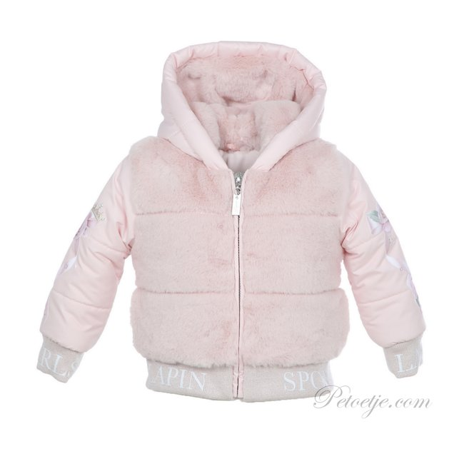 LAPIN HOUSE Girls Royal Pink Roses Padded Faux Fur Jacket - Coat
