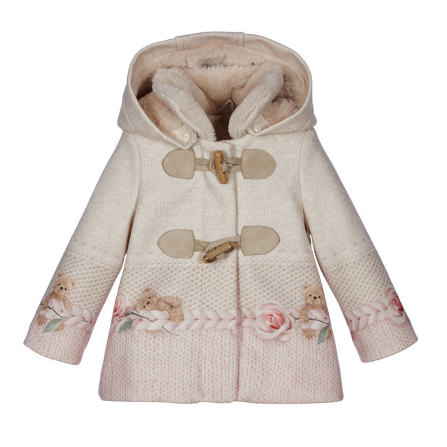 LAPIN HOUSE Girls Beige & Pink Coat - Cable Bear