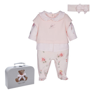 LAPIN HOUSE Pink Houndstooth Babysuit Gift Set
