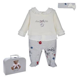 LAPIN HOUSE Ivory & Grey Babysuit - Headband