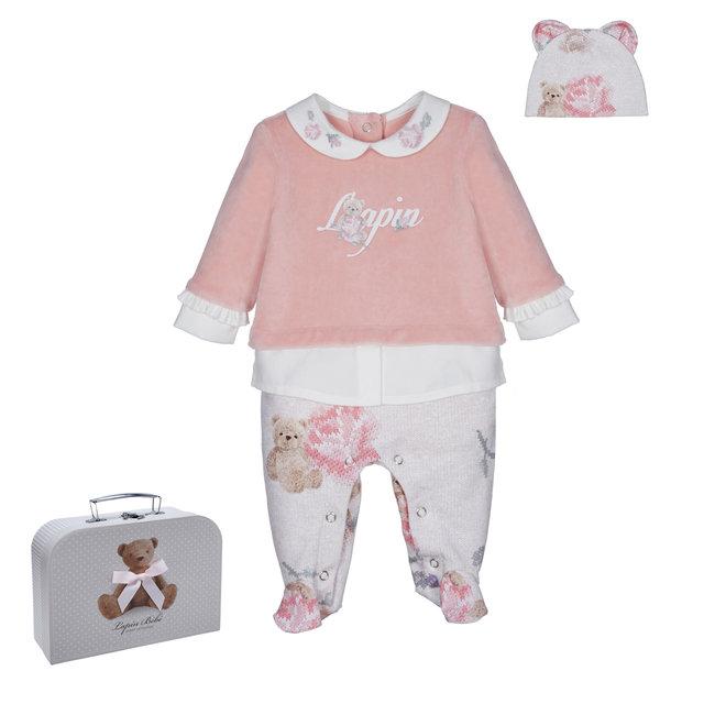 LAPIN HOUSE Pink & Beige Velours Babysuit Gift Set