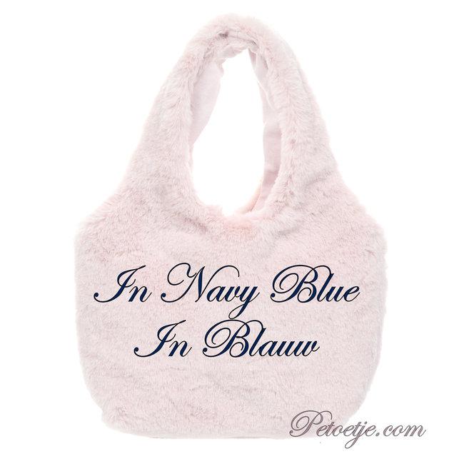 LAPIN HOUSE Navy Blue Faux Fur Handbag (14cm)