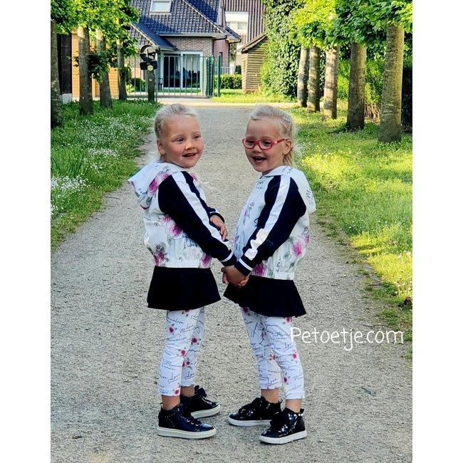 MONNALISA Girls White & Black Roses Jacket - Super Girl